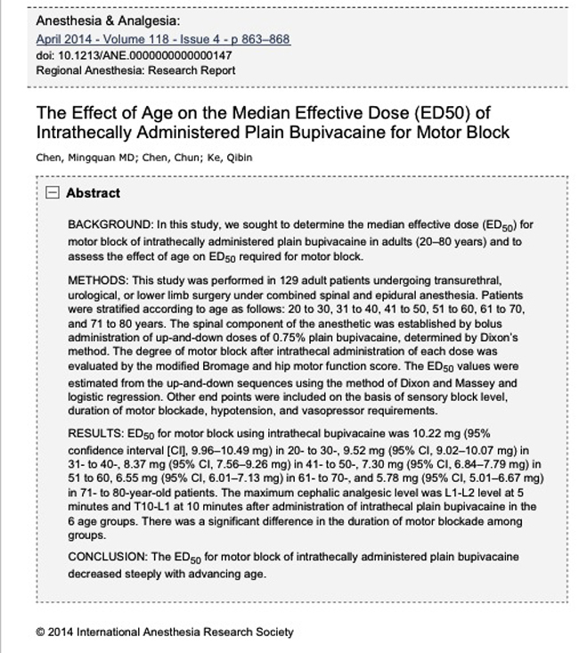 The Effect of Age on the Median Effective Dose (ED50) of Intrathecally Administered Plain Bupivacaine for Motor Block