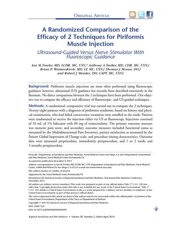A Randomized Comparison of the Efficacy of 2 Techniques for Piriformis Muscle Injection